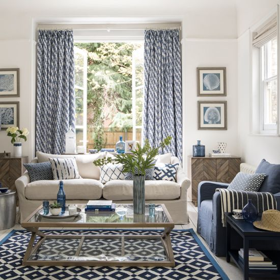 Enjoy A Holiday Mood All Year Round With A Mediterranean Inspired Palette Ideal Home Mediterranean Living Rooms Blue And White Living Room Blue Living Room