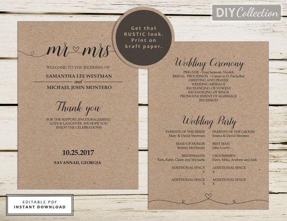 Rustic Printable Wedding Program Template, Kraft Program, Instant ...
