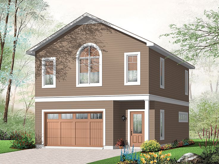 Garage with apartments above car garage apartment 027g for Small house over garage plans