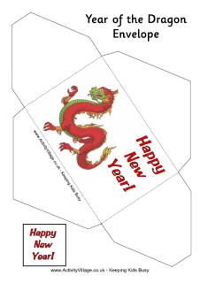 year of the dragon money envelope printable with red dragon design