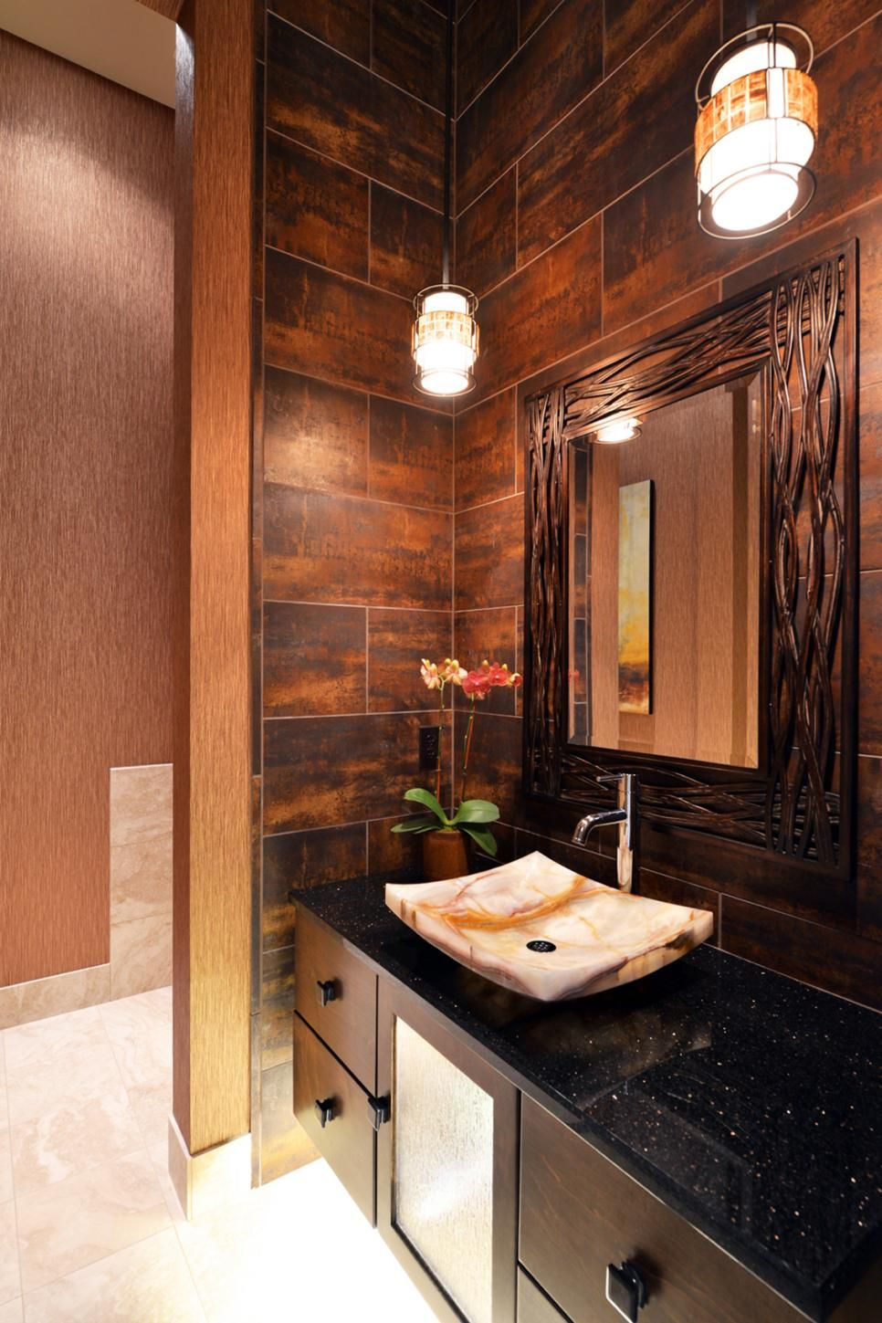 Rich Wood Panelled Rooms: Gorgeous Brown Tile Resembles The Look Of Wood On The