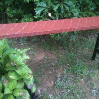 Re-purposed bench made from scrap wood and trampoline poles by my son, Drew, for Mothers Day:)