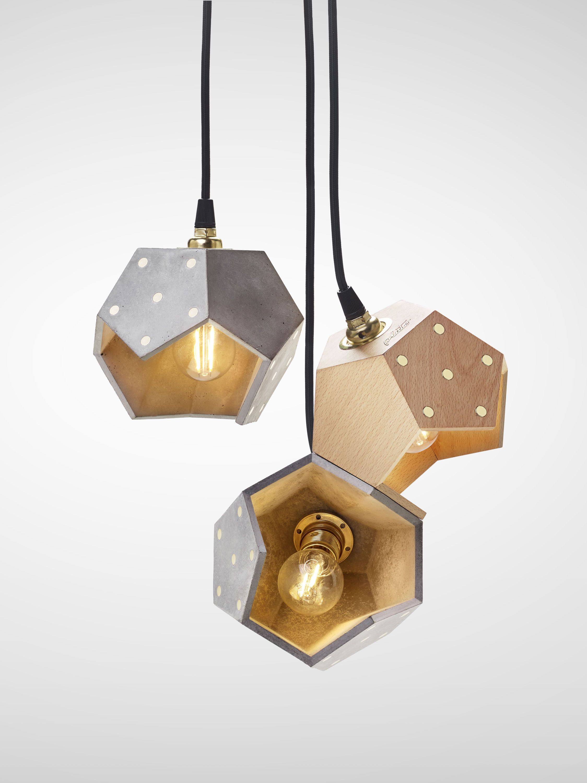 Basic Twelve Trio Concrete Wood Pendant Lamp