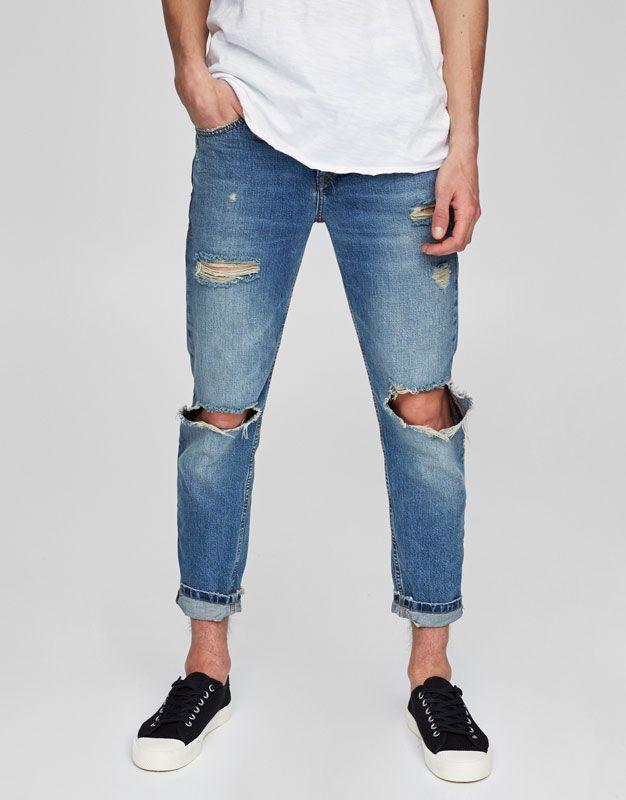 Pull Bear Hombre Ropa Jeans Jeans Slim Fit Tapered Rotos Azul 05681513 V2017 Ropa Casual De Hombre Jeans Hombre Rotos Pantalon Roto Hombre