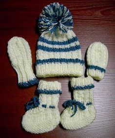 Sea Trail Grandmas Free Hat Booties Mittens Set Knit Pattern 0 3