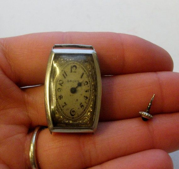 Antique Gruen Tank Watch For Parts Repair Or Steampunk By Onetime 4 25 Vintage Jewelry Tank Watch Jewelry