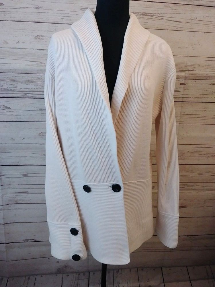 60efcdb721 Jones New York Woman Size 1X Cardigan Sweater Beige Heavy Knit A5   JonesNewYork  Cardigan