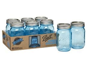Ball ® Heritage Collection Blue Ball Jar @ Fresh Preserving Store limited edition jars featuring period-correct blue color and embossed logos on the front and back