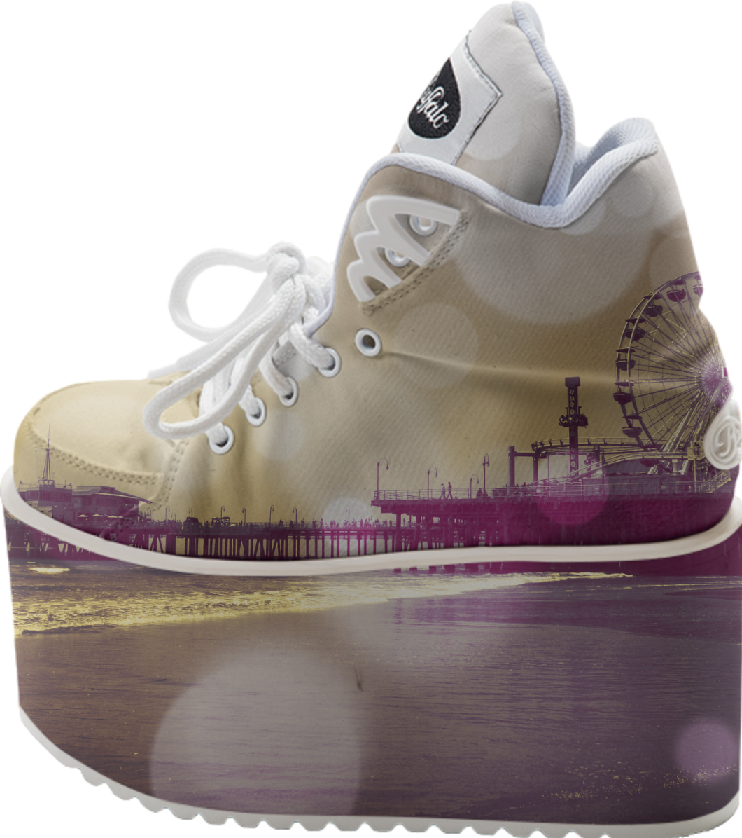 9a8829173058 Santa Monica Pier Golden Purple Bokeh Buffalo Platform Shoes from Print All  Over Me