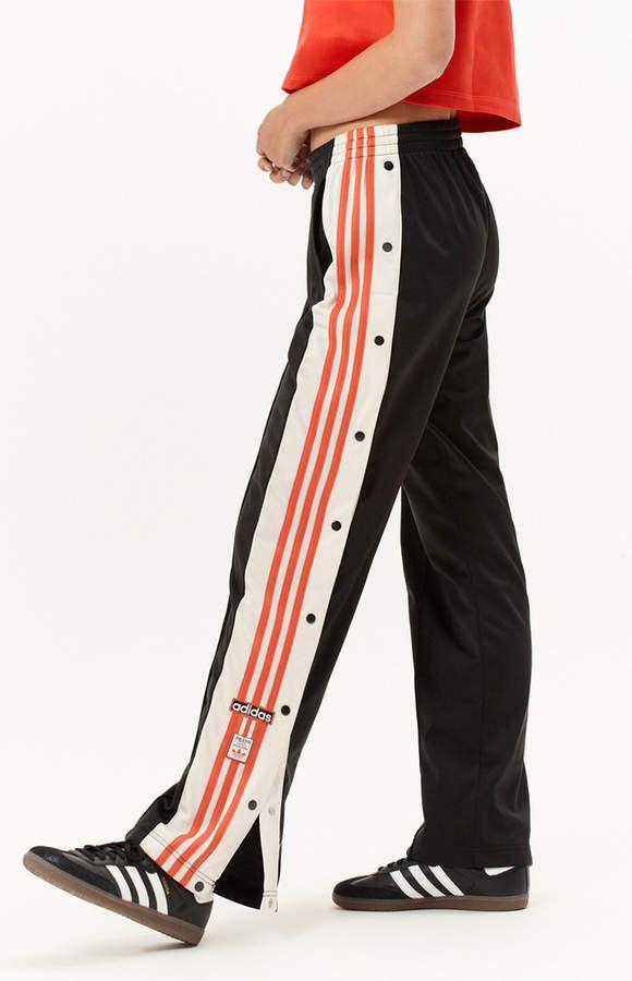 Shop Adidas Originals Snap Ankle Pants In Black White