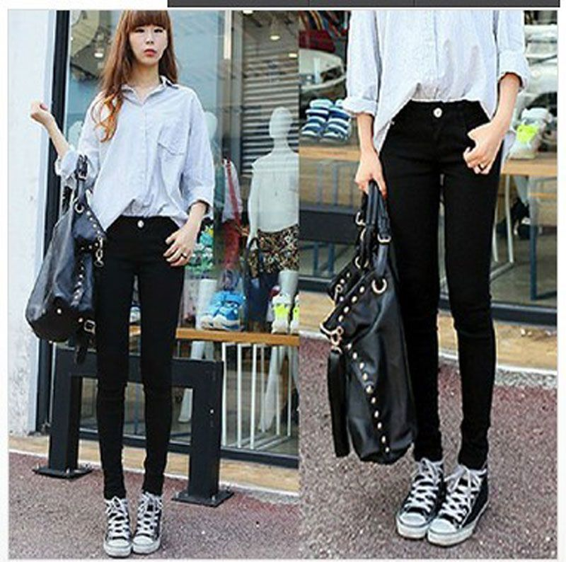 DK Jeans]The New 2015 Women's Wear Black Jeans Female Pencil Pants ...