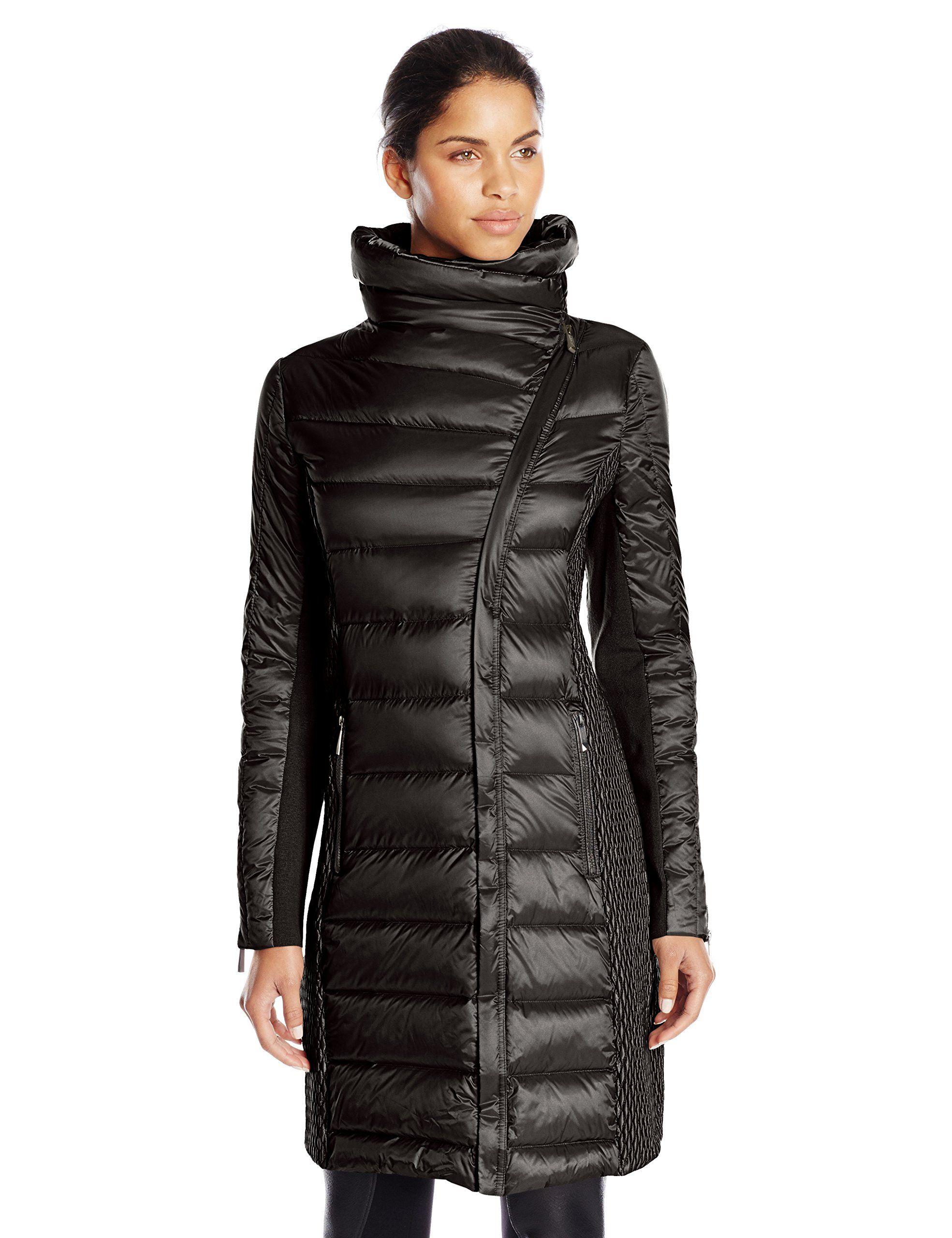9894b32ced BCBGMAXAZRIA Women's Asymmetrical Zip Down Coat at Amazon Women's Coats Shop