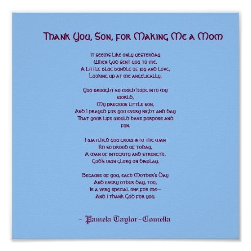 Thank You Son For Making Me A Mom Poster Zazzle Com My Son Quotes I Love My Son Son Quotes From Mom