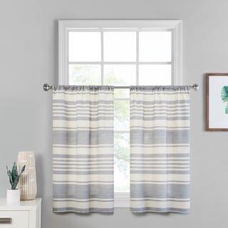 Vue Window Solutions Vinstra Tier Pair 52 X 36 Indigo Blue Linen Stripe Curtains Kitchen Curtains Shabby