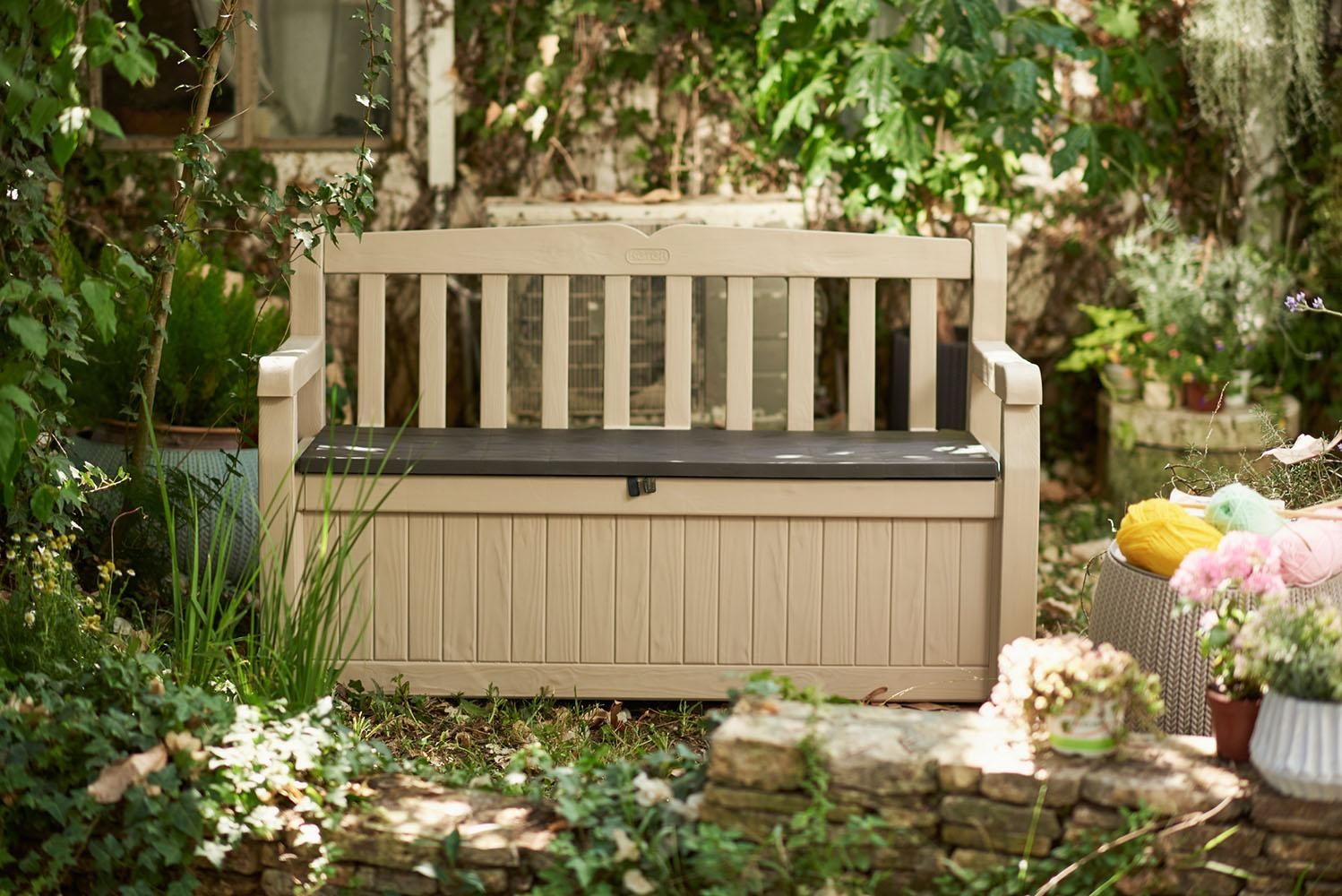 Peachy Keter Eden Garden Bench Outdoor Storage Deck Box Poolside Gmtry Best Dining Table And Chair Ideas Images Gmtryco