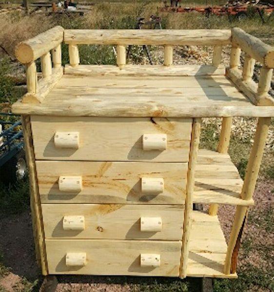 Handmade Log Nursery Changing Table