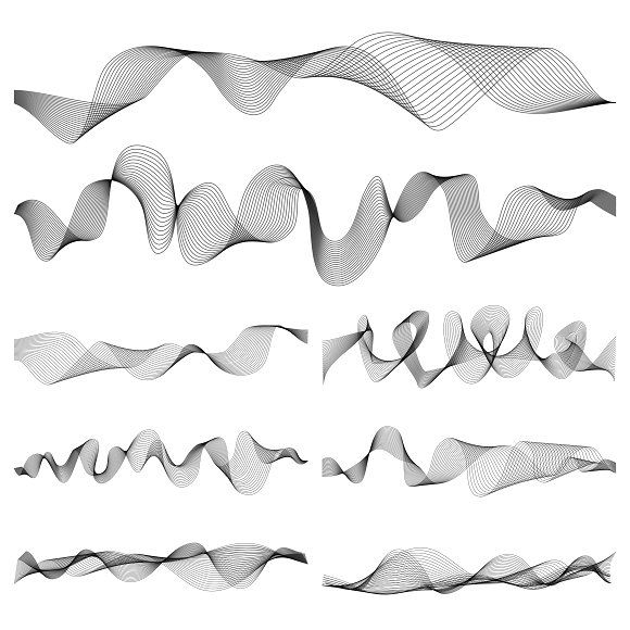 Abstract Music Sound Waves Set By Microone On Creativemarket Sound Wave Tattoo Sound Waves Design Sound Waves