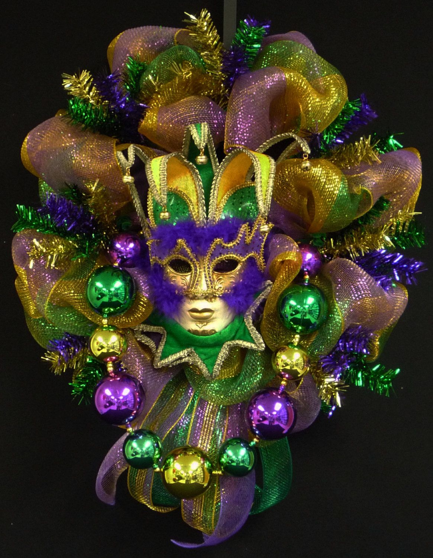 Mardi Gras Mask Wreath, Mardi Gras Decor, Poly Mesh, Fleur ...
