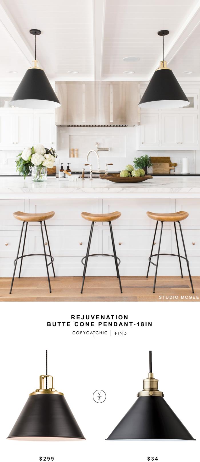 Rejuvenation Butte Cone Pendant For $299 Vs Target Crosby Small Pendant For  $36 @copycatchic Look. Black Counter StoolsBlack ...