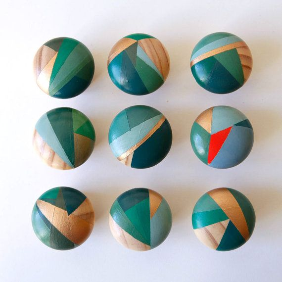 Hand painted colourful door knobs handles | penedo kitchens ...