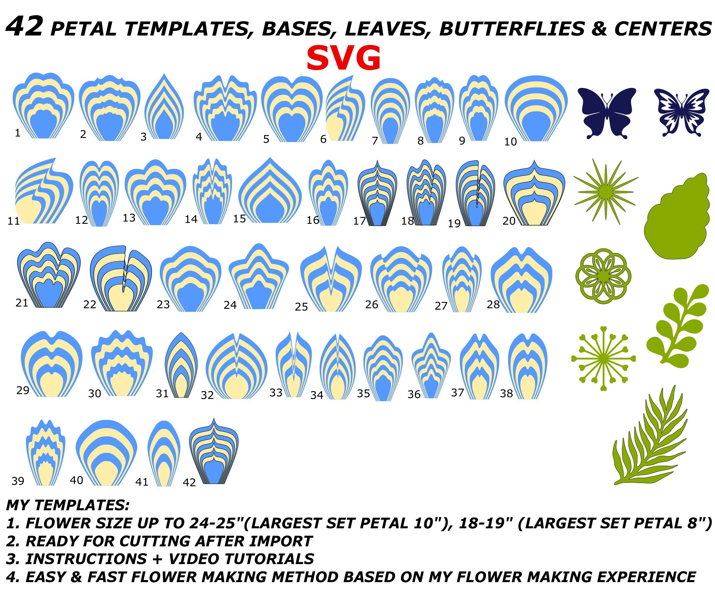 42 Giant Paper Flower Template SVG Bundle Plus Leaves Centers Butterflies SVG, Large Paper flowers Svg, Flores De papel, Giant Flowers #giantpaperflowers