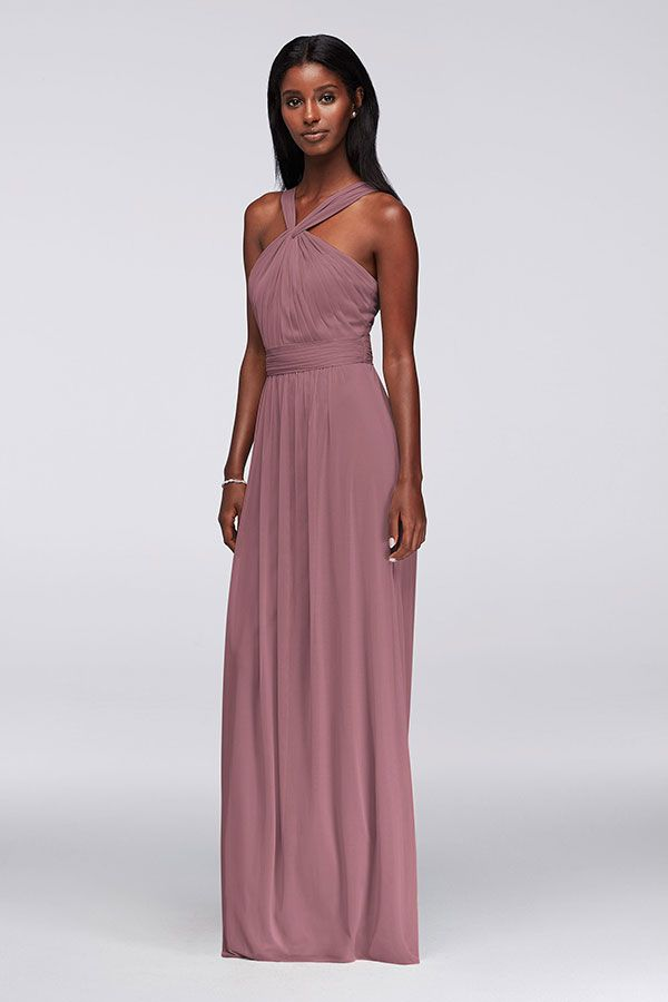 bbd3efcf7ef ... pleating makes this pretty Quartz-colored dress a fit for a range of  body types. Find more figure-flattering styles for your friends at David s  Bridal.