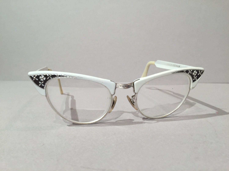 white combination aluminum cat eye glasses vintage shuron cateye browline black silver detail eyeglass frames