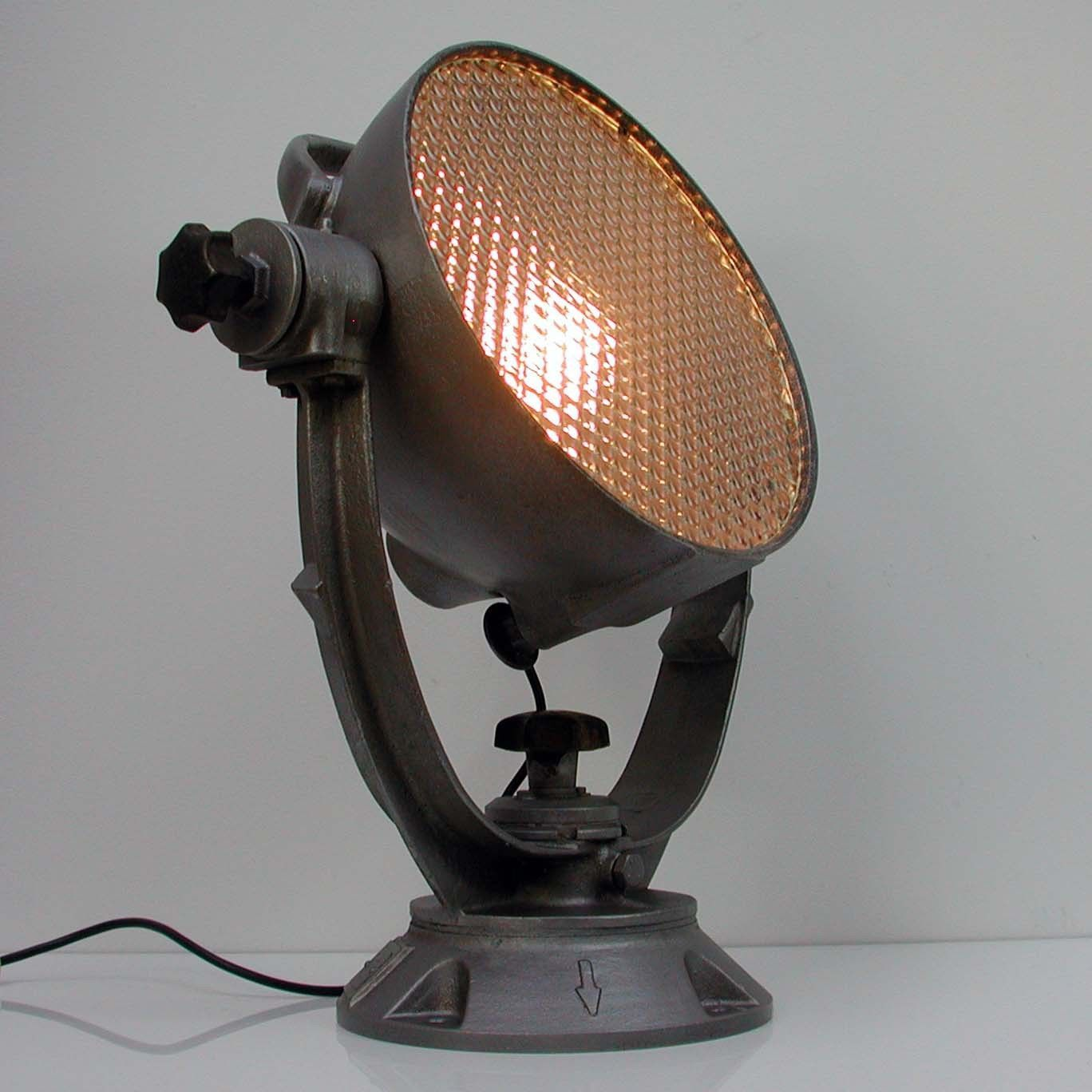 Vintage 1940s 1950s German Bauhaus Industrial Spot Light Theater Lamp Lamp Industrial Spotlight Light