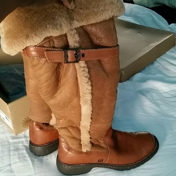 ee08b779eab Born thigh high boots. Shearling and leather thigh high great quality boot.  Worn once. Born Shoes Over the Knee Boots