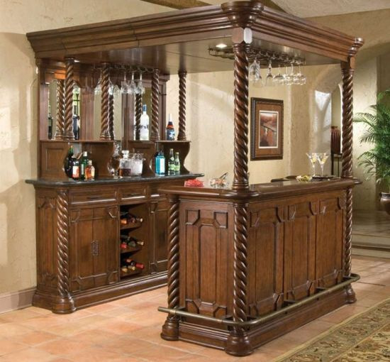 Full Bar Set With Canopy And Mahogany Finish