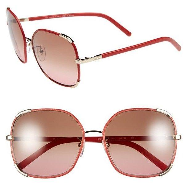 Women's Chloe 'Nerine' 58Mm Sunglasses (1.125 BRL) ❤ liked on Polyvore featuring accessories, eyewear, sunglasses, wrap sunglasses, chloe sunglasses, oversized eyewear, oversized sunglasses and oversized glasses