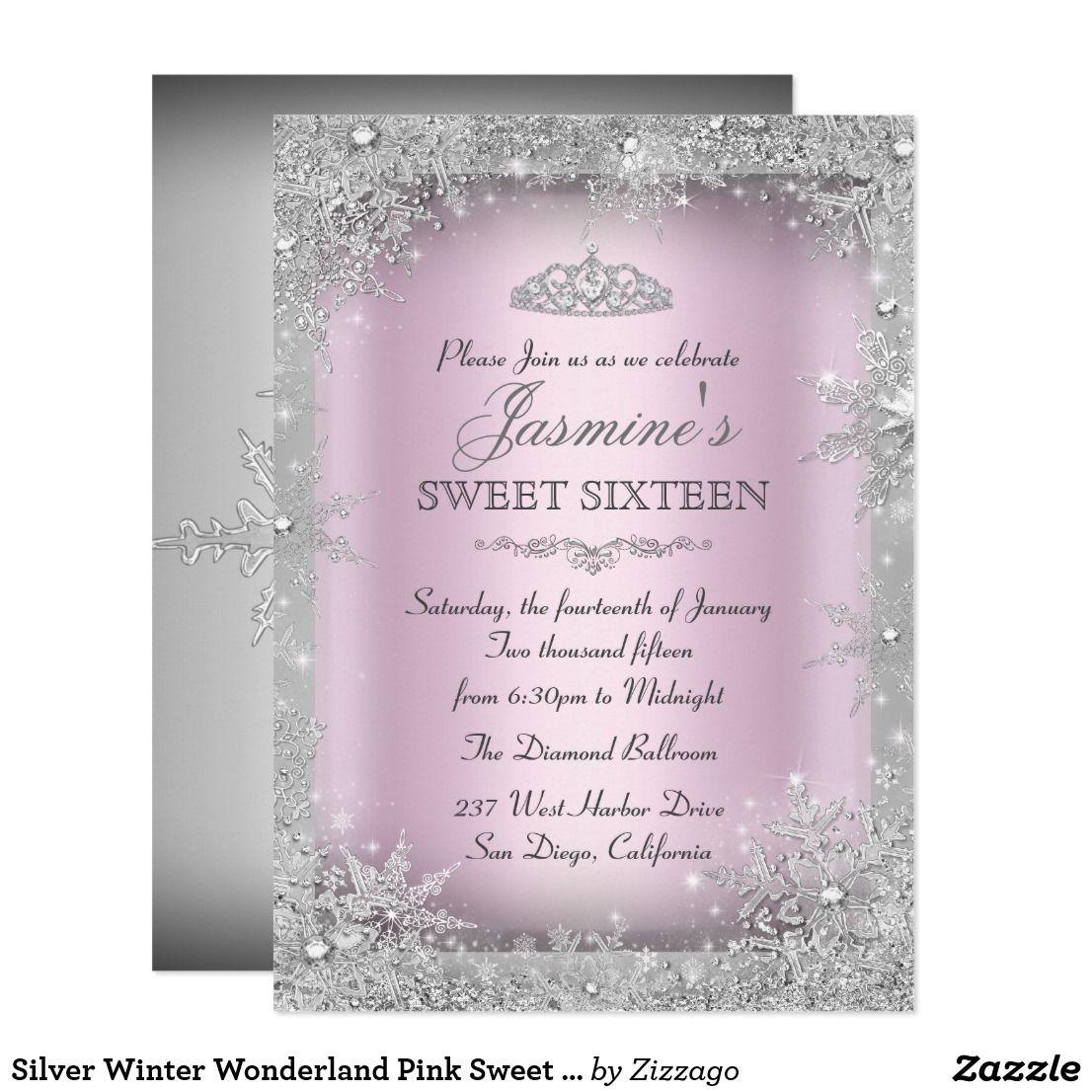 Silver Winter Wonderland Pink Sweet 16 Invitation   Pink sweet 16 ...