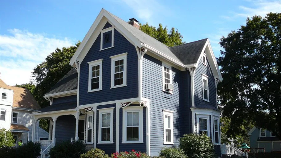 Dark Blue Blue Cape Cod House Google Search Gray House Exterior House Painting Cost Outside House Paint