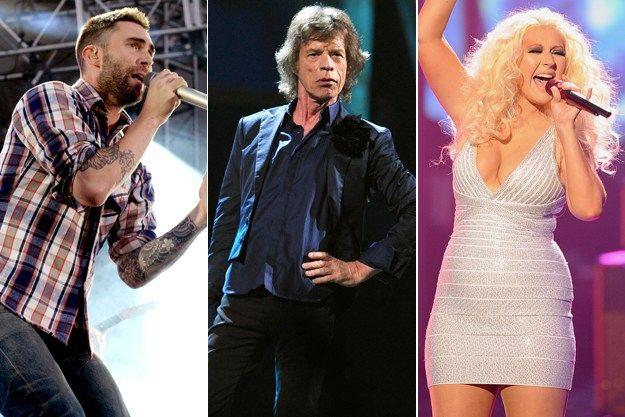 Adam Levine-Mick Jagger-Christina Aguilera