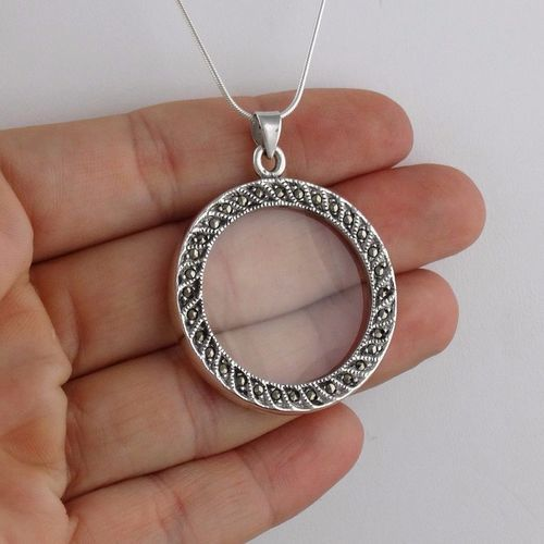 Marcasite 7x magnifying glass pendant necklace 925 sterling silver marcasite 7x magnifying glass pendant necklace 925 sterling silver 24 chain aloadofball Image collections