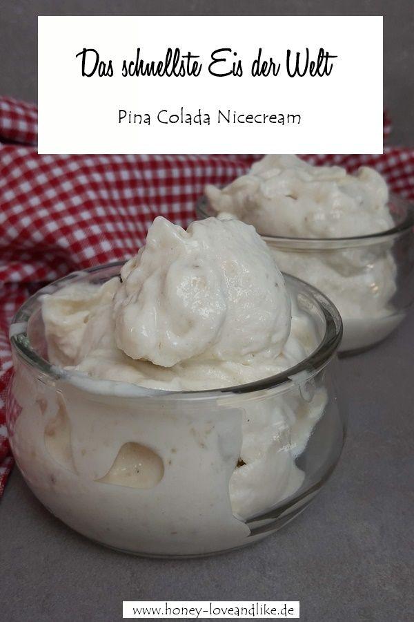 Gesundes Eis in 1 Min! Pina Colada Nicecream mit Ananas und Kokosmus