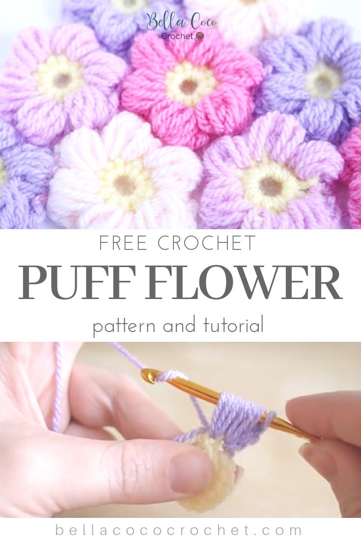 Puff Flower Free Pattern Bella Coco Crochet Crochet Flowers Easy Crochet Flower Hat Crochet Puff Flower,Mofongo Recipe El Boricua