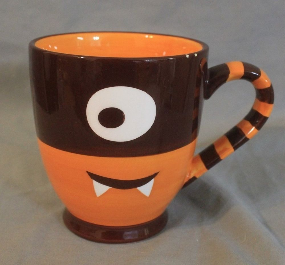 starbucks orange brown stripe cyclops one eye monster halloween