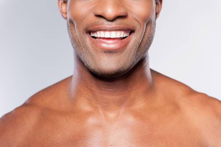 African American Man Smiling With White Teeth White Teeth Dental Bridge Dentistry