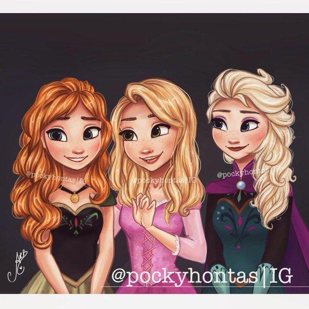 Anarapunzel E Elsa De Cabelo Solto Que Lindas Disney