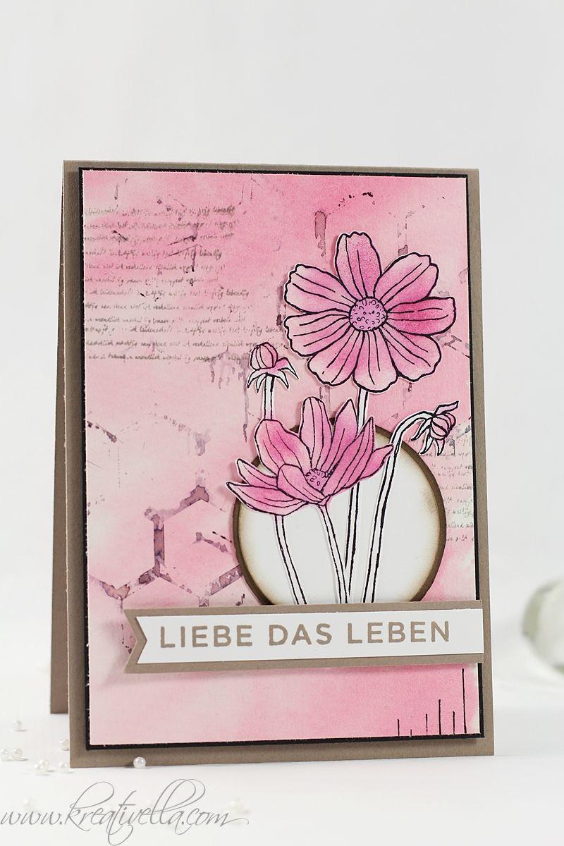 Karte im Grunge Look mit den Stampin' Up! Sets Die kleinen Dinge und Helping me Grow. Hintergrund gestaltet in Aquarelloptik. Blumen coloriert mit einem Fingerschwämmchen.