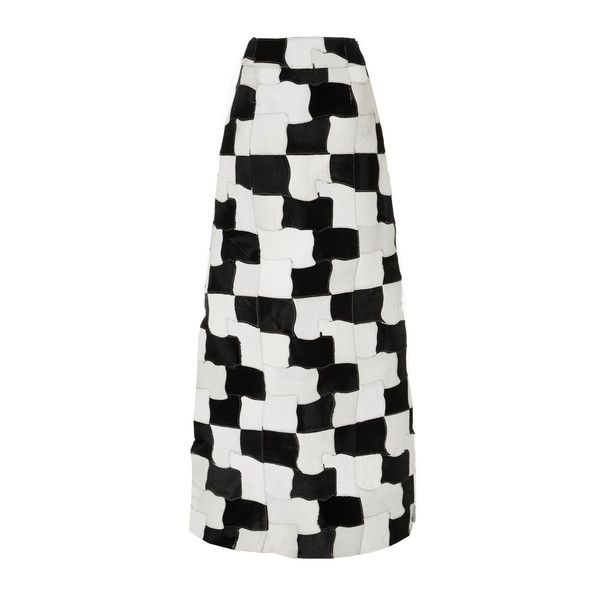 CF. Goldman Patchwork Maxi Skirt ($2,595) ❤ liked on Polyvore featuring skirts, black, long maxi skirts, floor length white skirt, long skirts, long ankle length skirts and white a line skirt