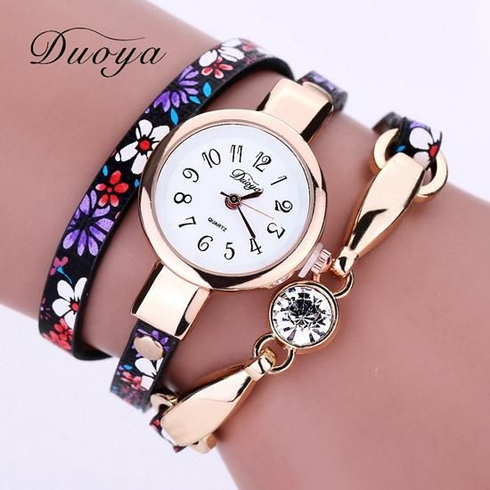 ed74b91c3d2 Duoya Top Luxury Women Brand Thin Leather Rose Gold Dial Bracelet Watches  Women Crystal Quartz Wristwatch Montre Female Watch