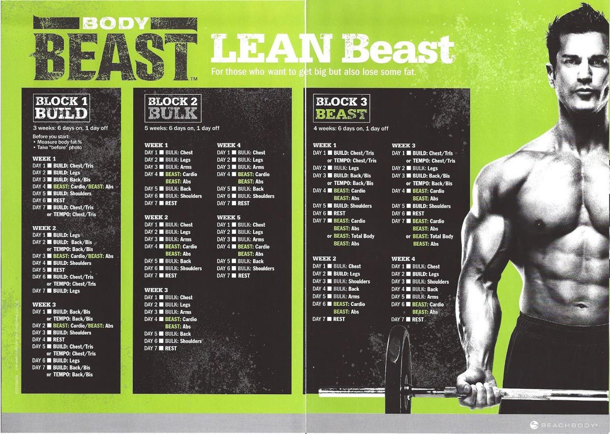 Body Beast Workout Schedule Downloads Get Them