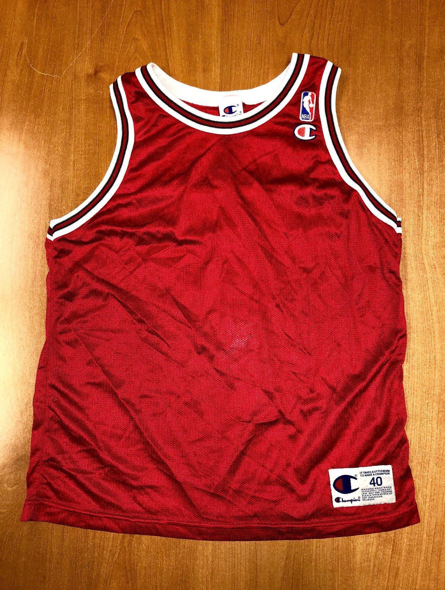 d87acef9110f Vintage 1995 - 1998 Chicago Bulls Blank Champion Jersey Size 40 nba finals  hat shirt scottie pippen authentic michael jordan elton brand by ...