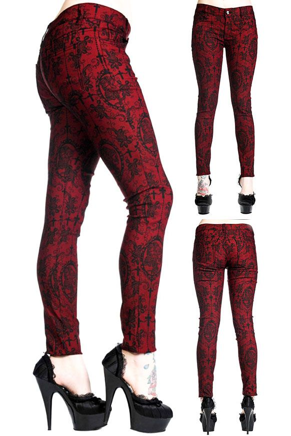 Banned Cross Cameo Gothic Trousers in Burgundy