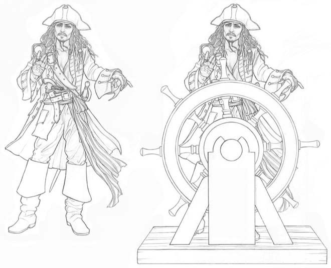 Http Www Jgoliverstudio Com Img Prod Jacksparrow Jpg Super Coloring Pages Coloring Pages Cartoon Silhouette