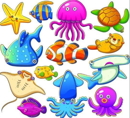 Free Cute Cartoon Marine Life Animals Vector Illustration 01 Titanui Sea Animals Drawings Cartoon Sea Animals Sea Animals