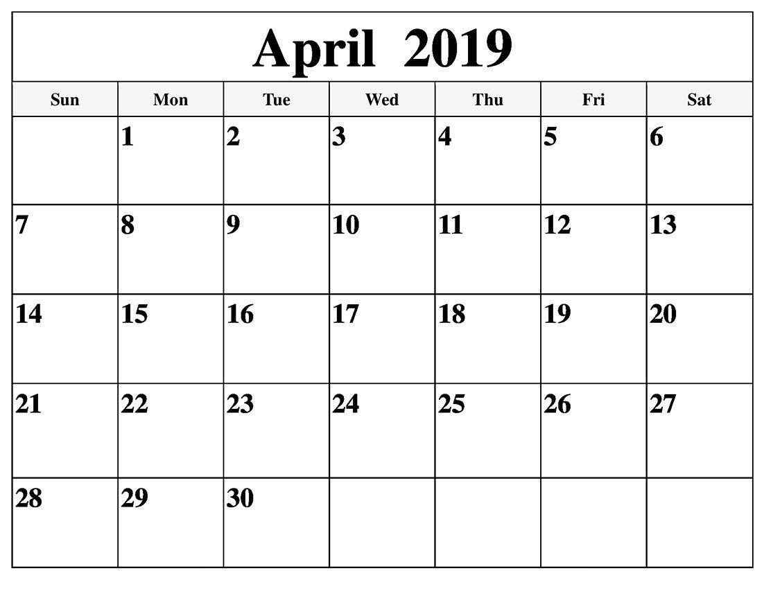 Editable April 2019 Calendar In Pdf Word Excel Printable