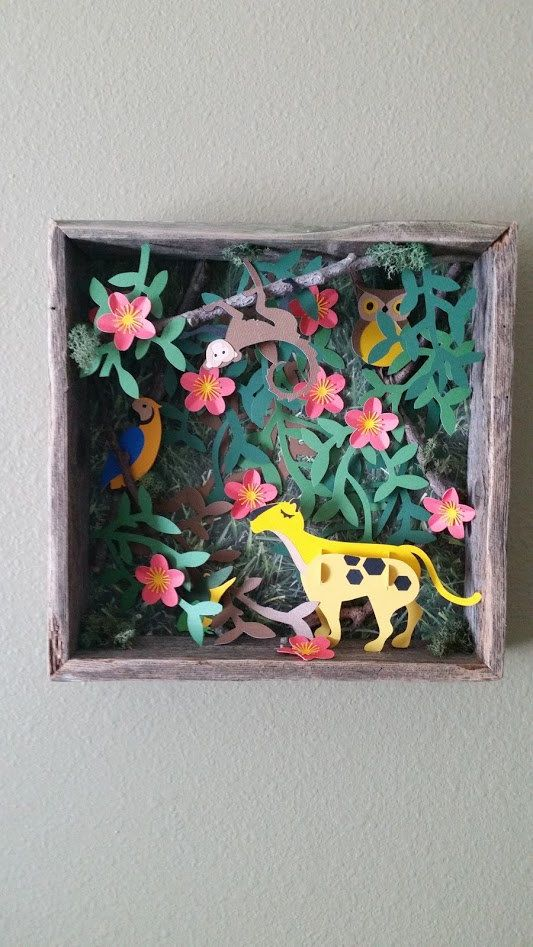 Jungle in the box 3D paper art wall fixture or desk by WingsOfWood